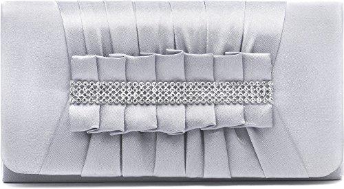 VINCENT PEREZ Borsetta, Borsa a tracolla, Pochette di raso increspato con strass eleganti e tracolla rimovibile (120cm),Colore:Argento