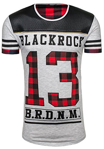 BOLF Herren T-shirt Figurbetont BLACK ROCK 2062 Grau XL [3C3] thumbnail