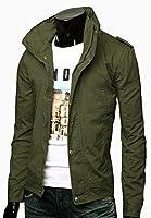 Izacu Flocc new men military Slim Fit Jacket Coat Zip driver button casual jacket
