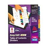 Avery  Ready Index Easy Edit Table of Contents Dividers, 8-Tab, 6 Sets (12172)