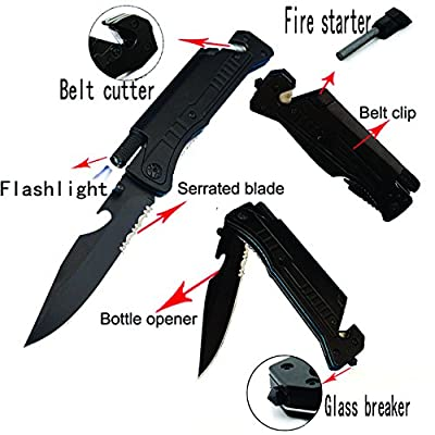 "8"" Multi-Purpose Survival Folding Pocket Knife with Fire Starter Flint, Bottle Opener, Belt Cutter and LED Light ALTAY"