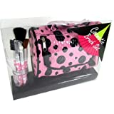 "6 Piece Cosmetic Make Up Brush Set And Cosmetic Travel Case (6.5""X5.5""X3"") Pink With Black Dots"