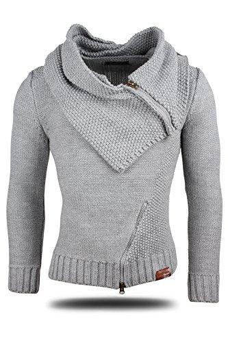 TAZZIO Herren Strick-Pullover mit abnehmbarem stylischem Kragen-Kapuze 15442 Grau M
