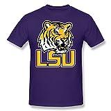 CXY Men's NCAA LSU Tigers Football Team Logo T-Shirt M Purple