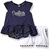 Nautica Girls' Little Girls Knit Tee with Eyelet Accents with Shorts, Navy, 4 Size: 4 SpecialSizeType: Little Girls Color: Navy, Model: K0198Q, Newborn & Baby Supply
