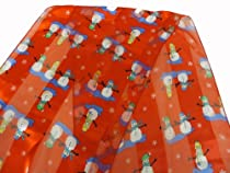 Clearance! Red Holiday Scarf Snowmen Prints
