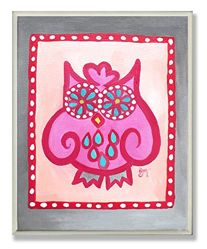The Kids Room by Stupell Crazy Pink Owl Rectangle Wall Plaque