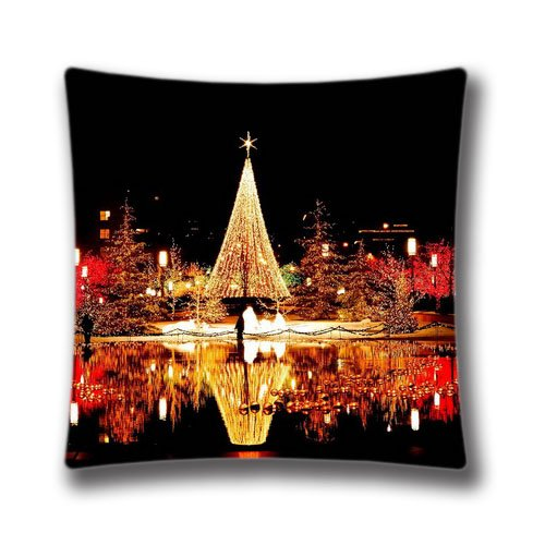 POP Christmas Merry Christmas Pillowcase 16x16 Inch (40x40cm) One Side Zippered Pillow Cover Cases