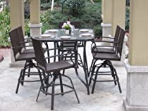 Hot Sale 7pc Handwoven Outdoor Wicker Patio Bar Dining Set - Swivel