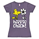 Official Women's Peanuts Woodstock Hippie Chick T-Shirt - Fitted Purple Snoopy