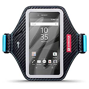 Sony Xperia Z5 Case, Shocksock Sony Xperia Z5 Armband for Sports Gym Bike Cycle Jogging with Adjustable Elastic - Black & Blue for Sony Xperia Z5, fits arm of 26cm/10.3 inches and above