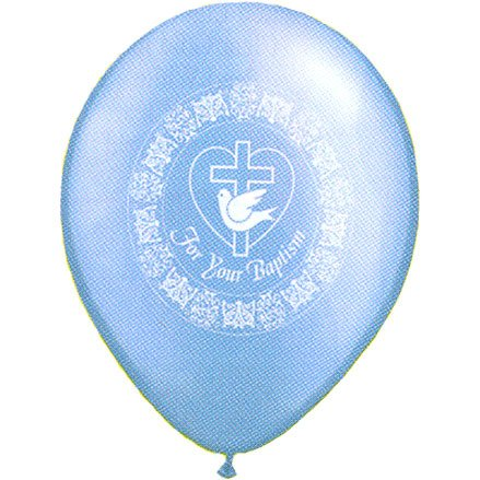 "Baptism Balloon 11"" For Your Baptism 25 Counts Azure"