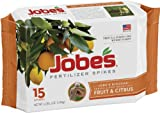 Jobes 1612 Fruit and Citrus Tree Outdoor Fertilizer Food Spikes, 15-Pack