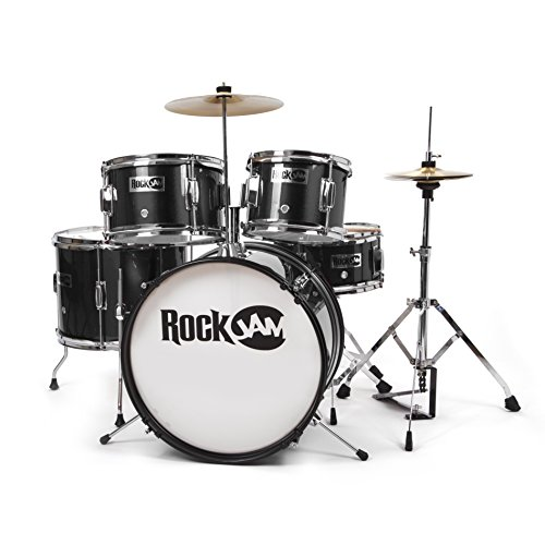 rockjam-complete-5-piece-junior-drum-set-with-cymbals-drumsticks-adjustable-throne-and-accessories-b