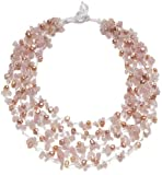 "HinsonGayle ""Gracie"" 5-Strand Handwoven Genuine Naturally Pink Freshwater Cultured Pearl and Rose Quartz Crystal Necklace (Artisan Collection)"