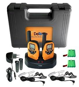 DeTeWe Outdoor PMR 8000 Funkgerät 2er Set mit einer Reichweite von bis zu 9 km -tropfwasserdicht (geprüft nach IPX2 Standard) - Audioline GmbH
