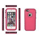 ieGeek iPhoneSE/ iPhone5S/iPhone5 防水ケース 防塵 防水保護等級IP68 水中撮影 指紋認証可 [ 落下 衝撃 吸収 ] アイフォンse / 5s / 5用 耐衝撃カバー (レッド)
