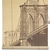 Oriental Furniture Brooklyn Bridge Bamboo Window Blinds, 48-Inch Wide