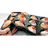 WellBake Professional 12 Cup Muffin / Yorkshire Pudding / Cupcake Tray. Superior Quality Non-Stick Silicone Bakeware + 10 Year Guaranteeby WellBake Silicone...
