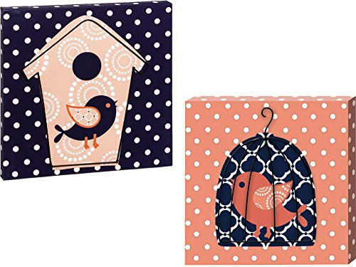 Coral And Navy Polka Dot Birds 12X12 Stretched Wall Canvas Set Of 2