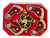 Auspicious door accessories swastik & goddesss laxmi foot stickers small - J&TG