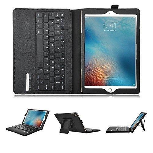 iPad Pro 9.7 インチ Bluetooth キーボード ケースKuGi 一体型 脱着式 良質PUレザーケース付き iPad Pro 9.7インチ 2016モデル 専用 Bluetooth キーボードケース ( ブラック )