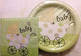 Baby Shower Party Pack - Gender Neutral Green - 18 Plates amp 20 Napkins by Party