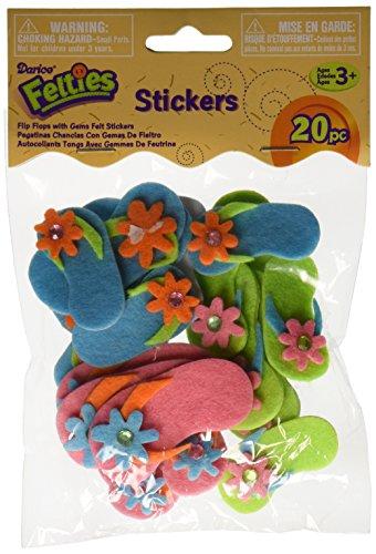 Felties Stickers 20/Pkg-Flip Flops With Gems