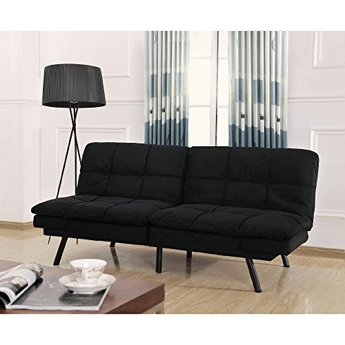 futon-sofa-memory-foam-convertible-sleeper-wooden-frame-black-suede-cover-by-mainstays