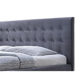 Baxton Studio Wholesale Interiors Margaret Modern and Contemporary Grey Velvet Button-Tufted Queen Platform Bed, Queen