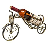 Antique Bronze Tone Tricycle Style Tabletop Single Bottle Rustic Wine Rack Display Stand