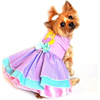 "Doggie Design Lavender Mermaid/Polka Dot Party Harness Dress For Small Dogs In Size X-Small (Chest 10""-13"", Neck..."