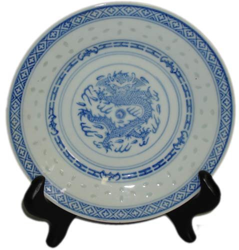 Chinese Dragon Blue and White Rice Pattern Plate - 6