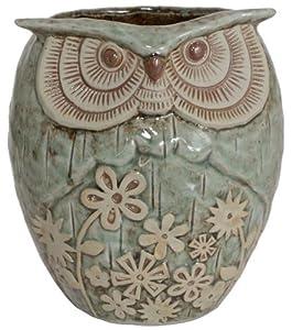 """Ceramic Owl Planter, 7.5""""Hx6.5""""DIAMETER, AQUA & TAN"""