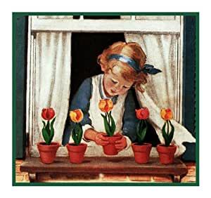 Girl Watering Window Box Flowers By J W Smith
