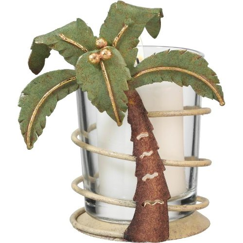 Votive Tealight Candle Holder Coastal Tropical Palm Tree - Regal Art #05272