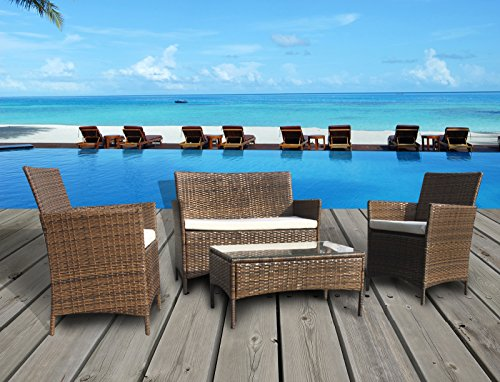 The French Riviera Collection - 4 Pc Outdoor Rattan Wicker Sofa Patio Furniture Set. Choice of Set & Cushion Color (Light Brown / Ivory Cushions)