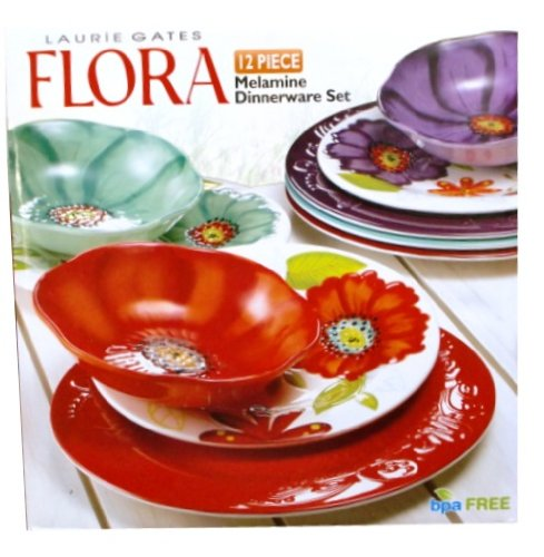 Laurie Gates ~ Flora 12PC Melamine Dinnerware Set Review  sc 1 st  casual Dinnerware sets Online & Laurie Gates ~ Flora: 12PC Melamine Dinnerware Set | casual ...