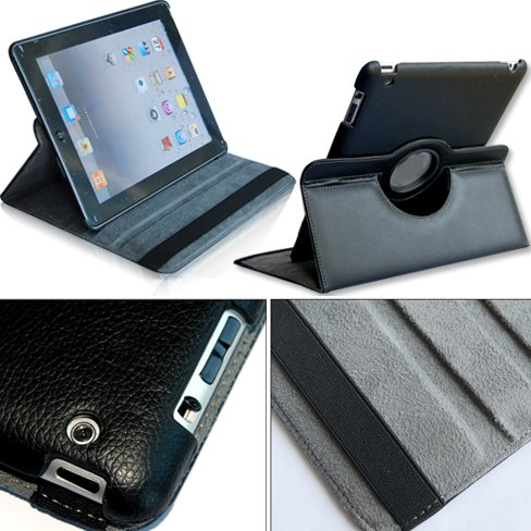 360°Rotating Stand PU Leather Case for Apple iPad 2 Black
