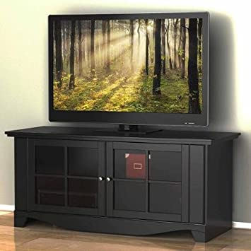 "Pinnacle TV Stand, for TVs up to 60"" Rich Textured Black Lacquer Finish, European Cam-Lock System"