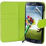 Generic 5055481626855 Buchstil Klapp Lederoptik Etui Flip Hülle für Samsung Galaxy S4 I9500 mit Reinigungstuch/Mini Eingabestift