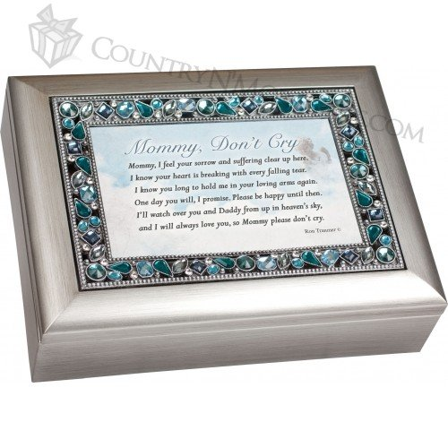 Mommy Don't Cry Bereavement Jeweled Musical Music Jewelry Box Plays Amazing Grace купить