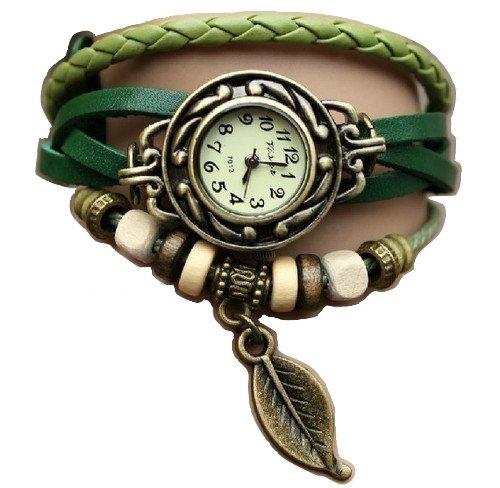 Vert Feuille Montre - Bracelet cuir - Weave Wrap Around- Quartz Mode Rétro - Montre de femmes de dames + Gratuit Poche Caisse