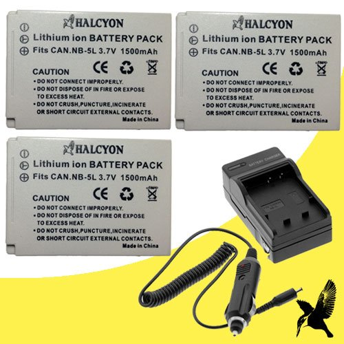 Three Halcyon 1500 mAH Lithium Ion Replacement Battery and Charger Kit for Canon PowerShot SD850 IS Digital Elph Digital Camera and Canon NB-5L coupons 2015