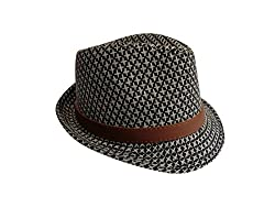 WB Fedora / Trilby Cap - Black with White Stars and Brown Leather Buckle Hat Band - Short Brim - Classic Style - Dapper Fashion Accessory!