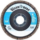 """Weiler Tiger Abrasive Flap Disc, Type 27, Round Hole, Phenolic Backing, Zirconia Alumina, 4-1/2"""" Dia., 40 Grit (Pack of 1)"""