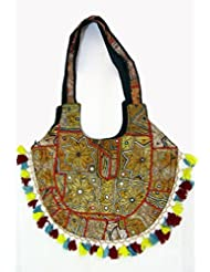 Gold Patchwork Banjara Bags With Red Outlines