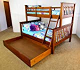 Coolabah- Twin Over Full + Trundle Solid Wood Bunk Bed Pecan Color