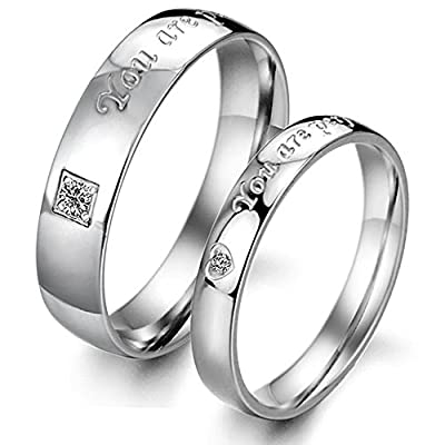 "OPK Jewelry titanium steel ""You are perfect in my mind"" Love Words Engraved His and Her Couples Promise Wedding Band Lover's Gift(A pair)"