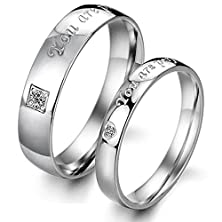 "buy Opk Jewelry Titanium Steel ""You Are Perfect In My Mind"" Love Words Engraved His And Her Couples Promise Wedding Band Lover'S Gift(A Pair)"